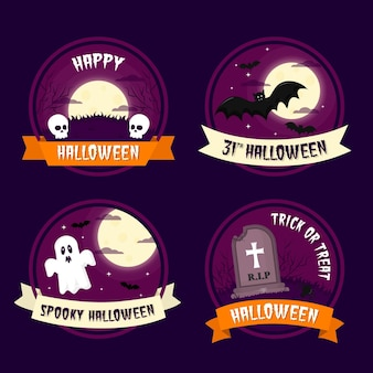 Insignias de halloween de miedo de diseño plano