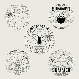 Insignias de horario de verano de estilo plano con arte lineal