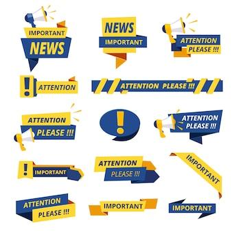 Insignias importantes. aviso de atención anuncio colección de pegatinas gráficos promocionales estilizados.