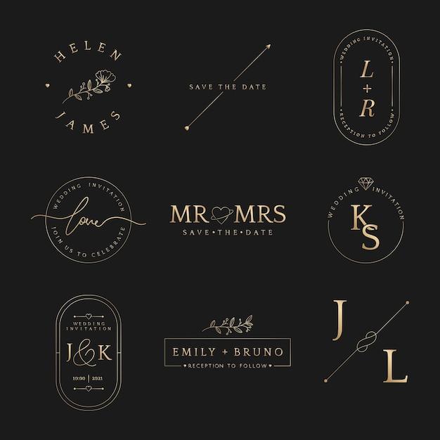 Insignias de invitación de boda de lujo en colección de oro metálico.