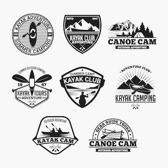 Insignias de kayak de canoa