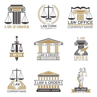Insignias legales y legales, martillo de juez, código legal conjunto negro de etiquetas para jurisprudencia, notas legales