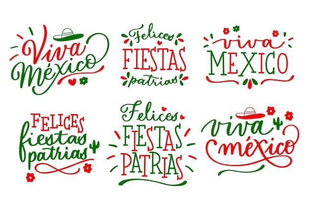 Insignias de letras del día de la independencia mexicana