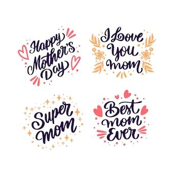 Insignias de letras del día de la madre dibujadas a mano