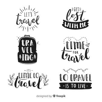 Insignias de letras de viaje dibujadas a mano
