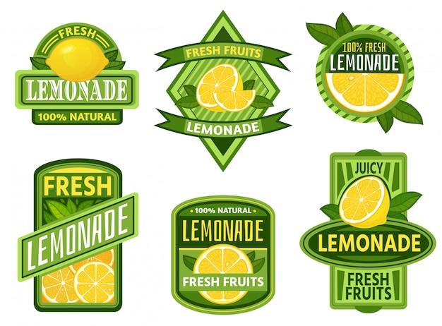 Insignias de limonada. insignia de emblema de bebida de limón, conjunto de emblemas de limonadas de jugo de limones de frutas frescas