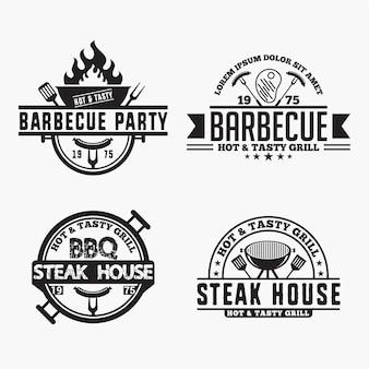 Insignias de logos de barbacoa
