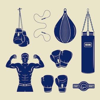 Insignias de logotipo de boxeo y artes marciales.