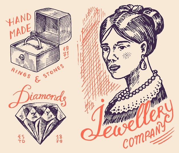 Insignias y logotipo de joyería de mujer para tienda.