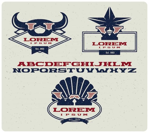 Insignias de logotipo con letras mayúsculas