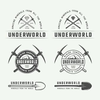 Insignias de logotipo de minería o construcción