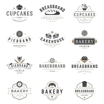 Las insignias y el logotipo de la tienda de la panadería diseñan las plantillas fijadas vector, comida de los pasteles o logotipos de la casa del horneado