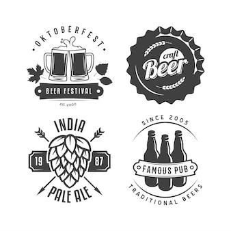 Insignias y logotipos de cerveza artesanal. conjunto de etiquetas de cerveza retro.