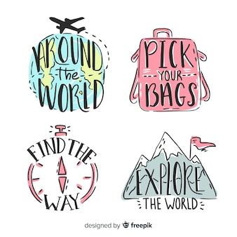 Insignias de mano dibujado letras de viaje