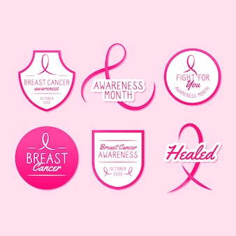 Insignias del mes de concientización sobre el cáncer de mama