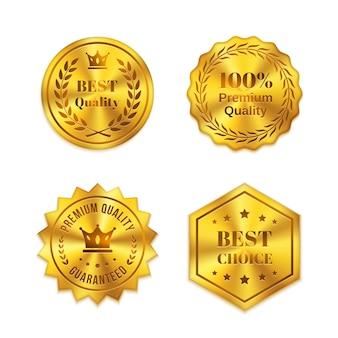 Insignias de metal dorado aisladas sobre fondo blanco. mejor calidad, mejor elección, garantía