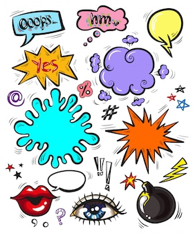 Insignias modernas de arte pop, parches y burbujas de discurso