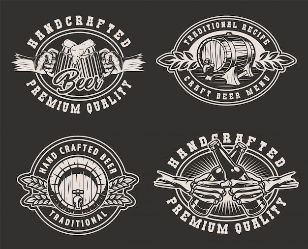 Insignias monocromáticas de cervecería vintage