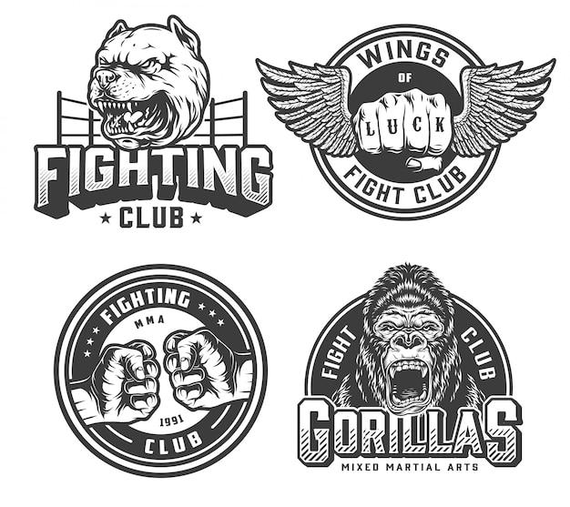 Insignias monocromáticas de club de lucha vintage