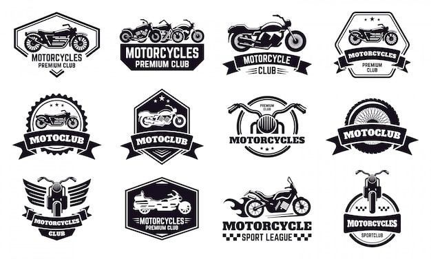 Insignias de moto. motocicleta retro moto club emblemas, carreras y motos sello personalizado, motocicleta motociclista emblemas ilustración conjunto de iconos. insignia de piloto de motos, liga de motos