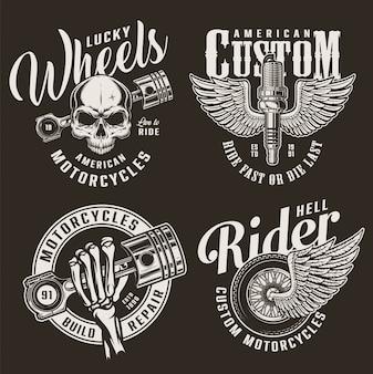 Insignias de motocicletas personalizadas monocromas