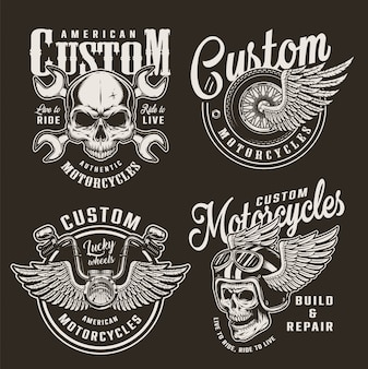 Insignias de motocicletas personalizadas monocromáticas vintage