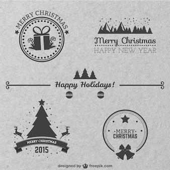 Insignias de navidad estilo clásico vector gratuito