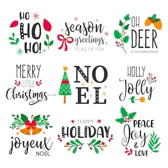 Insignias de navidad con preciosos elementos dibujados a mano y citas