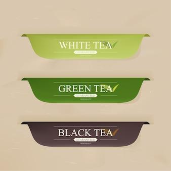 Insignias o pancarta con menú de bebida de té.