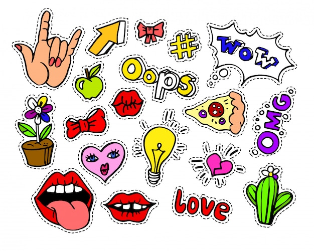 Insignias o stikers modernos del remiendo de la historieta del doodle
