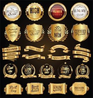 Insignias de oro y etiquetas colección de diseño vintage retro