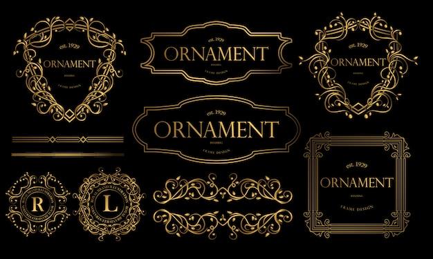Insignias de oro de lujo con adornos decorativos