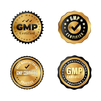 Insignias de oro de lujo con certificación gmp. pegatinas industriales para productos premium con etiqueta good manufacturing practice. conjunto de sellos certificados gmp