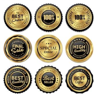 Insignias de oro de lujo y etiquetas de calidad premium.