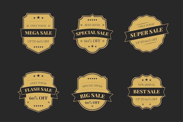Insignias de oro de lujo y etiquetas de productos de primera calidad en una oscuridad.