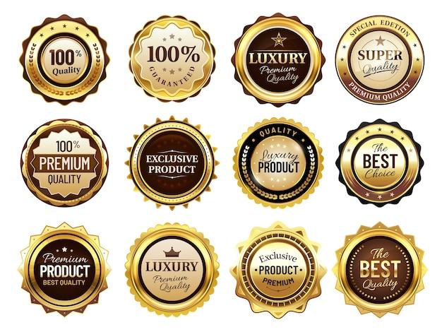 Insignias de oro de lujo. sello de primera calidad, etiquetas doradas y distintivo de mejor oferta.