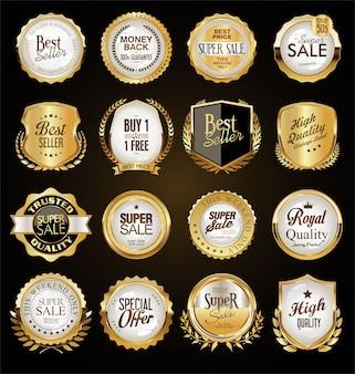 Insignias de oro vintage retro etiquetas y escudos