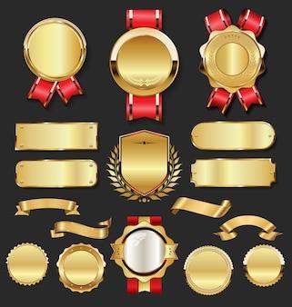 Insignias de oro vintage retro etiquetas y placas de metal