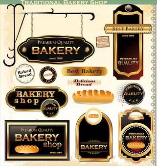 Insignias de panadería retro y etiquetas