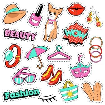 Insignias, parches, pegatinas para niñas de moda: burbuja cómica, perro, labios y ropa en estilo cómic pop art. ilustración