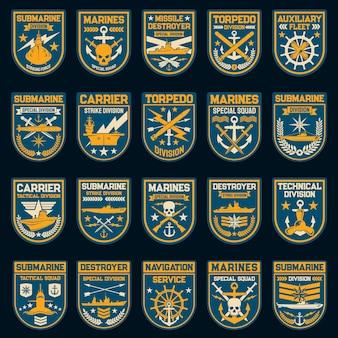 Insignias y parches vectoriales de la fuerza naval o marina.