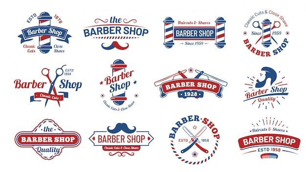 Insignias de peluquería. etiqueta de peluquero vintage, insignia de salón de afeitado retro y corte de pelo de caballero antiguo signo conjunto de ilustración