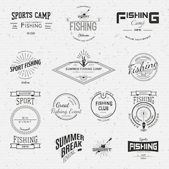 Insignias de pesca con logos y etiquetas para cualquier uso.