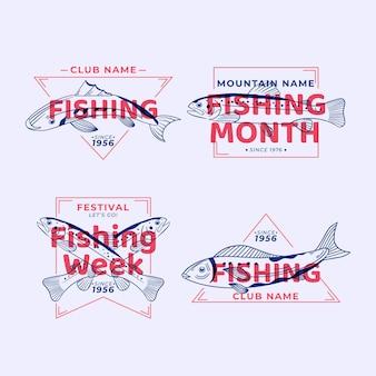 Insignias de pesca vintage detalladas vector gratuito