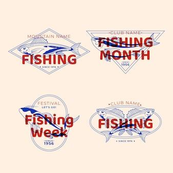 Insignias de pesca vintage detalladas