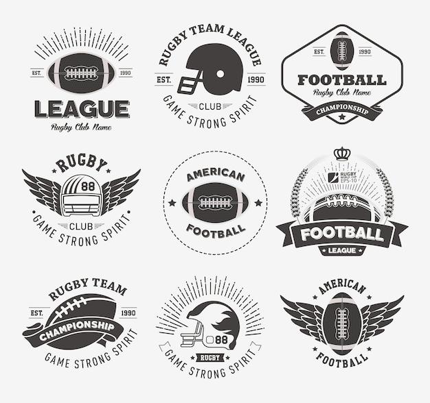 Insignias de rugby y colección de etiquetas