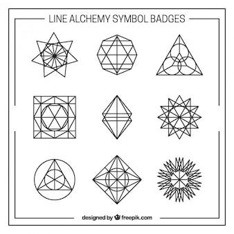 Insignias de símbolos de alquimia lineales