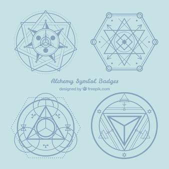 Insignias de símbolos alquímicos azules