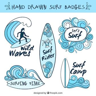 Insignias de surf celestes dibujadas a mano