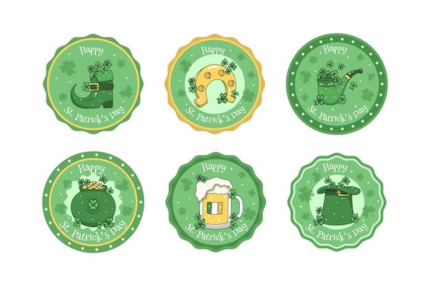 Insignias de tapas de cerveza st. dibujado a mano del día de patricio